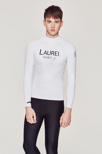 [MR-1] RASHGUARD WHITE (printed Black)