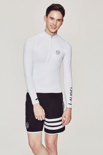 [MR-2] ZIP UP RASHGUARD WHITE