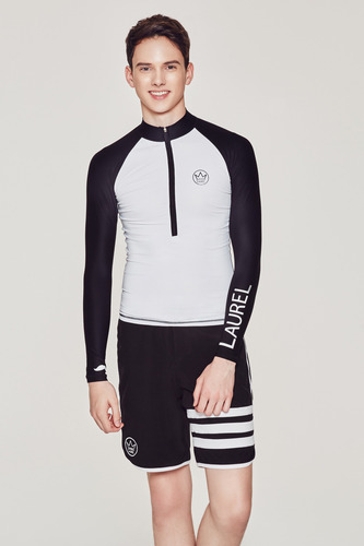 [MR-2] ZIP UP RASHGUARD WHITE_BLACK